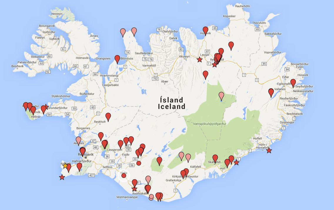 island karte mit sehenswürdigkeiten Island Landkarte Sehenswürdigkeiten | Deutschland Karte island karte mit sehenswürdigkeiten